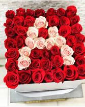 Large Hat Box W Initial Fresh-Cut Roses