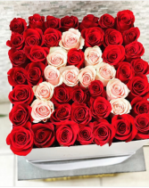 Large Hat Box with Intital 50 FRESH-CUT Roses