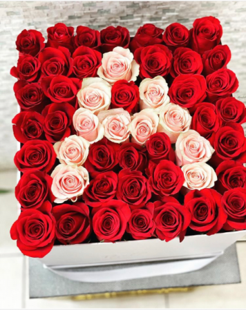 Large Hat Box with Intital 50 FRESH-CUT Roses