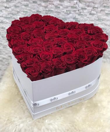 Large Heart Box 50 Fresh Roses