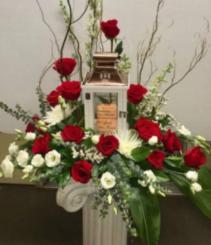Large Keep Sake Lantern With Arrangement of Fresh Flowers