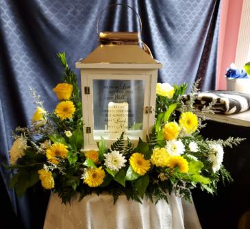 Large Lantern with Fresh Flowers
