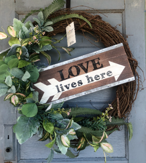 """Large """"Love Lives Here"""" wreath with greenery  in Eagle, ID 