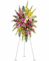 Large mixed standing spray with lilies and roses Funeral Spray