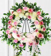 Large Pink and White Wreath Standing Spray
