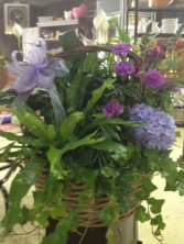 Large Plant Basket with Fresh Flowers