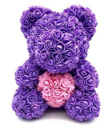 Large Purple 14inch Rose Bear With Box Purple Rose Bear