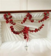 Large Rosary With Red Spray Roses Funeral