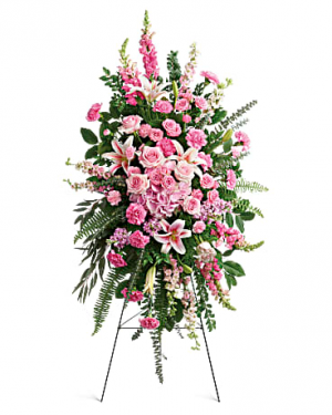 Large standing spray available in any color  Funeral Tribute in Edmonton, AB | PETALS ON THE TRAIL