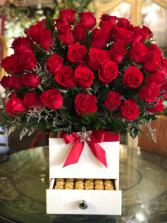 Large Surprise Rose Box Wood Box