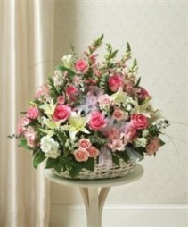 Large Sympathy Arrangement In Basket - Pink & Whit Funeral