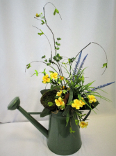 LARGE WATERING CAN FAUX DESIGN IN YELLOW FAUX FLOWER DESIGN