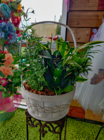 Large whicker basket planter