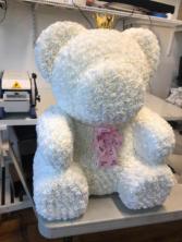 LARGE WHITE TEDDY ROSE BEAR 27 INCH