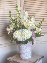 Large White Vase Arrangement Valentine's Day Special
