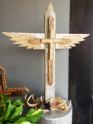 Large Winged Pedestal Cross  Hand Artisaned cross  in Spring, TX | TOWNE FLOWERS