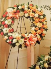 Large wreath peach and white c-07