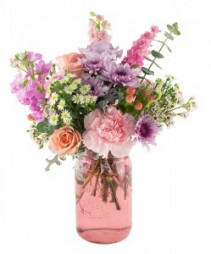 large mason jar arrangement colors of flowers and vase may vary