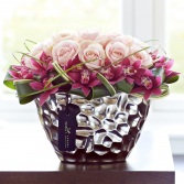 Mulberry Silk  Roses and Orchids in a Metalic Bowl