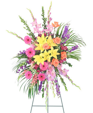Uplifting Sendoff Standing Spray in Burlington, NC | STAINBACK FLORIST & GIFTS
