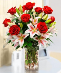 Lasting Love roses and lilies