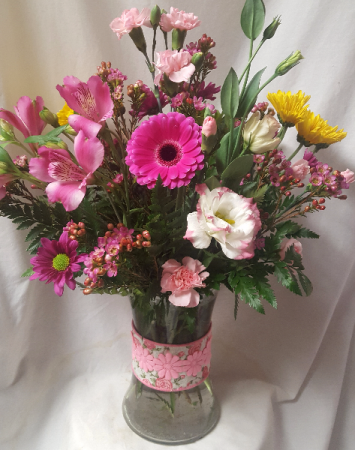 """""""LASTING ROMANCE"""" PINK DETAIL RIBBON VASE WITH  SEASONAL FLOWERS IN PINKS AND PURPLES!"""