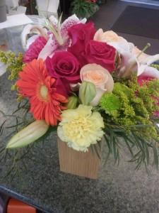 Vibrant rustic Box Fresh flowers