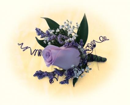 Lavander Rose Prom Boutonniere