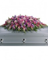 Lavendar Tribute Casket Spray Sympathy Arrangement