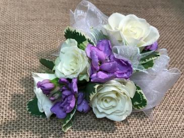 Lavender Accented Rose Corsage Wristlet