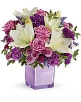 Lavender And Cream Cube Flower Arrangement