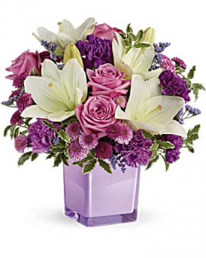 Lavender And Cream Cube Flower Arrangement in Tulsa, OK | THE WILD ORCHID FLORIST