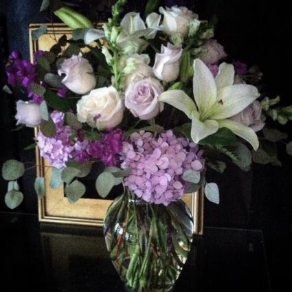 Lavender and Cream Vase arrangement