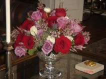 Roses and Ranunculus customer provided container