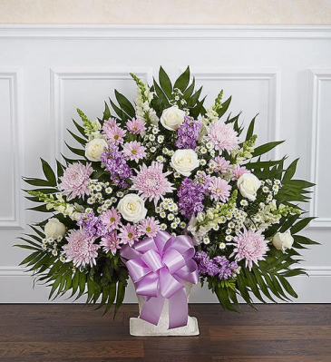 Lavender and white floor basket Sympathy Arrangements