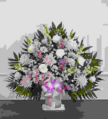 LAVENDER AND WHITE FUNERAL FLOOR BASKET