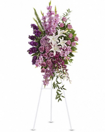 Lavender and white standing spray Funeral Tribute