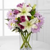 lavender and white surprise vase arrangement