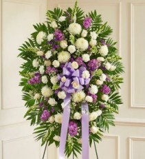 Lavender and White Sympathy Standing Spray EF54