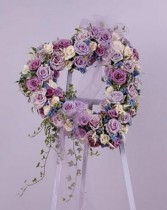 Lavender Blue heart Funeral Flower Heart arrangement