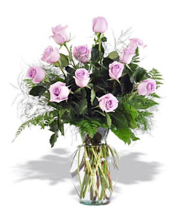 Lavender Dozen Rose Arrangement Roses