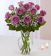 Lavender Dozen Roses Floral Arrangement