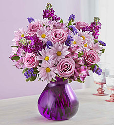Lavender Dreams Fresh Purple Roses, Daisies, Stock