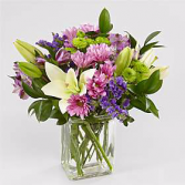 Lavender Fields Mixed Flower Bouquet with Vase