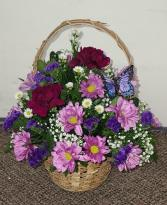 Lavender Garden Bouquet          TF-F7 Basket Arrangement