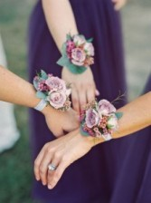Lavender Garden Style Wrist Corsage with lavender spray Roses