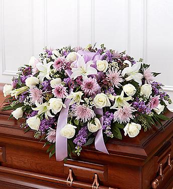 Lavender Half Casket Cover Casket flowers