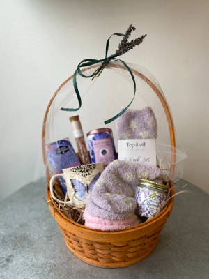 Lavender Keep Me Cozy Gift Basket in La Grande, OR | FITZGERALD FLOWERS