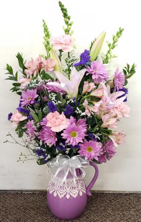 Lavender Lace Pitcher Vase Arrangement