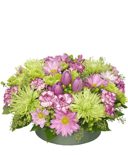 Lavender lime flower arrangement in mirabel qc